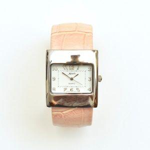 Novelle Quartz Pastel Pink Alligator Cuff Watch